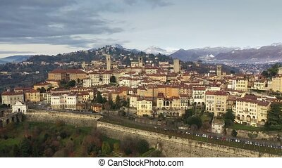 Picturesque aerial view of Bergamo and surrounding...
