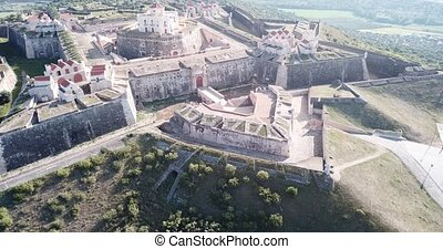 Aerial view of finest example of trace italienne in military architecture - star-shaped Conde de Lippe Fort in Portuguese municipality of Elvas