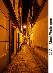 alley at night in the old town of Seville, Spain
