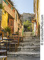 Picturesque alley at plaka leads to acropolis. Athens,...