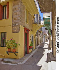 picturesque alley, Greece - picturesque alley, Chios island,...