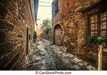 Picturesque alley in a small village in Tuscany