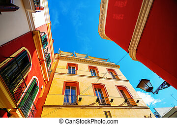 alley in the old town of Seville, Spain, in high angle view