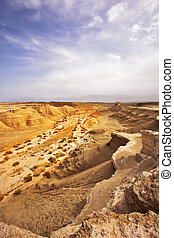 Picturesque ancient mountains near the Dead Sea in Israel