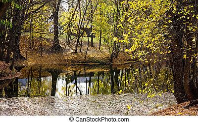 Picturesque autumn pond at Pushkin's estate in Boldino in the Nizhny Novgorod region