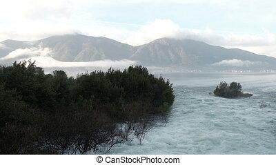 Picturesque bay of peninsula Kassandra on autumn day. Mighty...