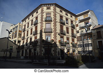 Picturesque Building In The Streets Of Jaca. Travel, Landscapes, Nature, Architecture. December 27, 2014. Jaca, Huesca, Aragon.