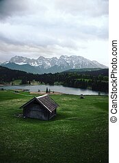 Picturesque cabin at Geroldsee in Bavaria, Germany
