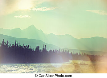 Canadian mountains - Picturesque Canadian mountains in...