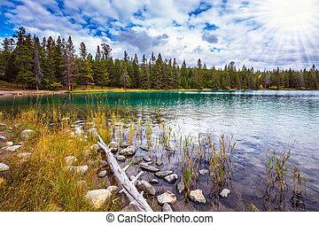 Picturesque circular lake