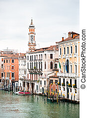 Picturesque Cityscape of Venice. Old Buildings on Grand Canal. Italy. Cloudy Sky.