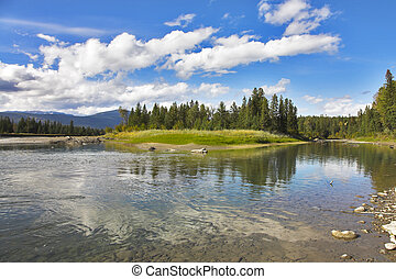 Picturesque coast - Shallow northern lake with picturesque...
