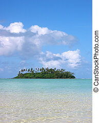picturesque coral atoll island at Cook Islands