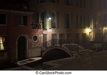 Picturesque corner in Venice at night