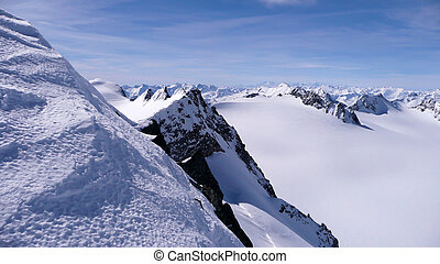 picturesque deep winter mountain landscape in the Alps of Switzerland