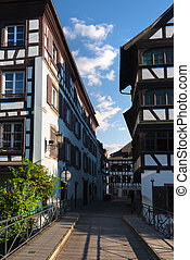 Picturesque district Petite France in Strasbourg. France
