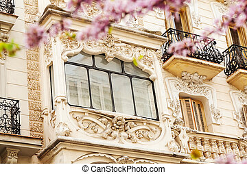 picturesque house in Madrid in spring - Close up of...