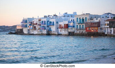 Picturesque houses of Little Venice in Mykonos Island at...