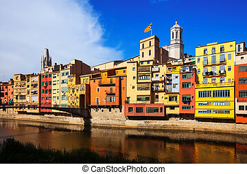 Picturesque houses on the river bank. Girona. Catalonia