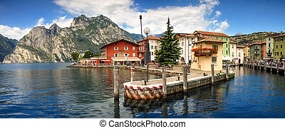 Picturesque italian village town on lakefront of Lake Garda.