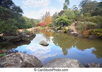 Picturesque lagoon at Mt Tomah in Autumn a beautiful spot in...