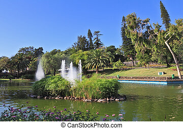 Picturesque lake with fountains