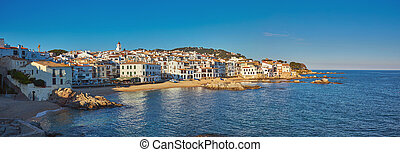Picturesque landscape from a small Spanish village in Costa Brava coastal, Calella de Palafrugell