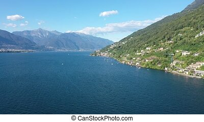 Picturesque landscape of Lago Maggiore, large lake located on south side of Alps between Switzerland and Italy. High quality 4k footage