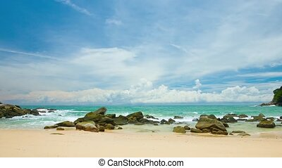 Picturesque landscape - tropical ocean coast with sand and rocks. Thailand