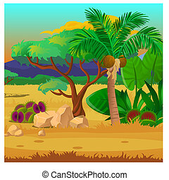 Picturesque landscape with a coconut palm tree, rocks and carnivorous plants. Sketch of a beautiful poster or placard on the theme of wildlife nature. Vector cartoon close-up illustration.