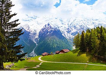Picturesque landscape with mountains, Mont Blanc