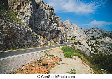 Picturesque landscape with road in the mountains.