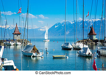 Picturesque little port and sailing boats on Lake Geneva in Morges