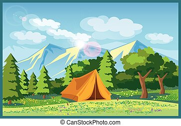 Stylized vector illustration picturesque meadow with a tent in a forest and mountains