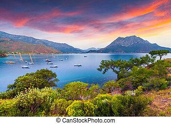 Picturesque Mediterranean seascape in Turkey.