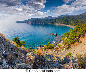 Picturesque Mediterranean seascape in Turkey. View of a small bay near the Tekirova village, District of Kemer, Antalya Province. Artistic style post processed photo.