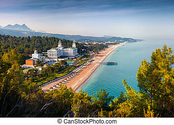 Picturesque Mediterranean seascape in Turkey. View of the Tekirova village, District of Kemer, Antalya Province. Artistic style post processed photo.