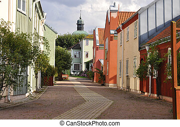 Picturesque medival town - Street in a picturesque medival ...