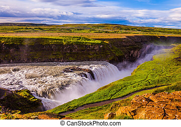 The most picturesque waterfall in Iceland - Gullfoss -...