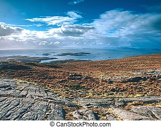 Picturesque Norway sea landscape, aerialview from mountain ...