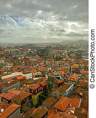 Picturesque panorama view of Porto, Portugal in cloudy day