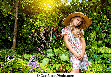 picturesque portrait - Little elegant girl resting in a...