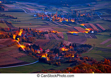 Picturesque Prigorje village evening aerial view, Kalnik...