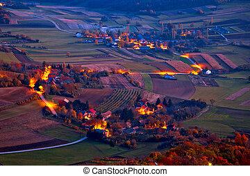 Picturesque Prigorje village evening aerial view, Kalnik...