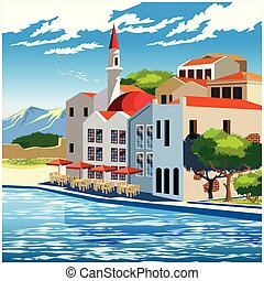 Picturesque quay - Stylized vector illustration of the...