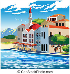 Picturesque quay - Stylized illustration of the picturesque...