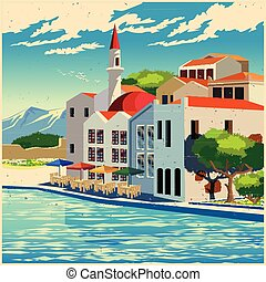 Picturesque quay old poster - Stylized vector illustration...