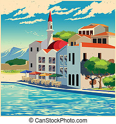 Picturesque quay old poster - Stylized illustration of the...