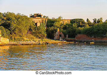 Picturesque ruins on banks of the Venetian lagoon, Italy
