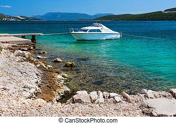 Picturesque scene of rocky adriatic beach